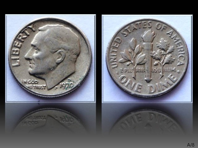 """United States 10 Cents """"Roosevelt Dime"""" 1970 D KM#195a"""