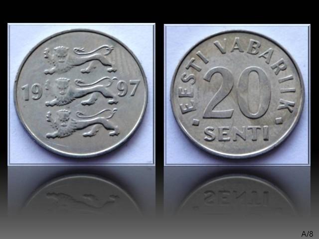 Estonia 20 Senti 1997 KM#23a