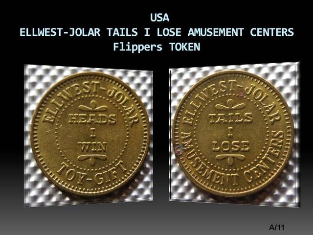 USA ELLWEST-JOLAR TAILS I LOSE AMUSEMENT CENTERS Token