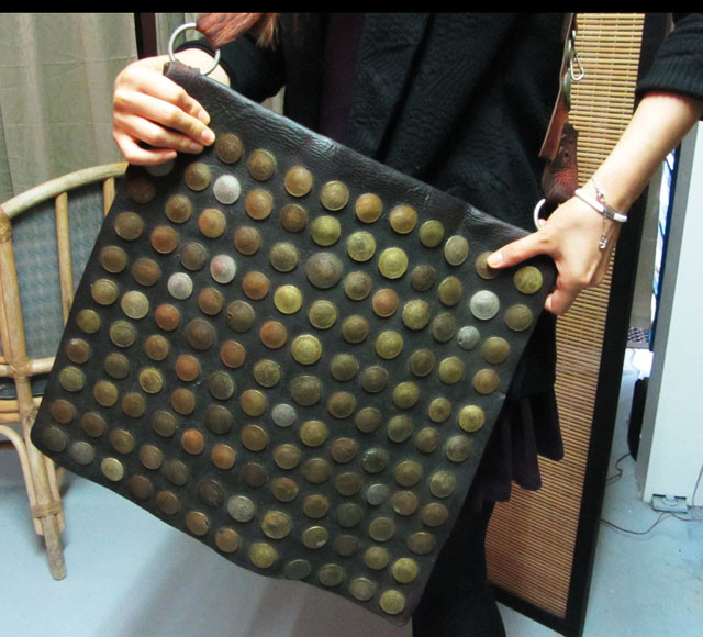 UNIQUE OLD MOROCCAN LEATHER 144 COINS MAIL BAG