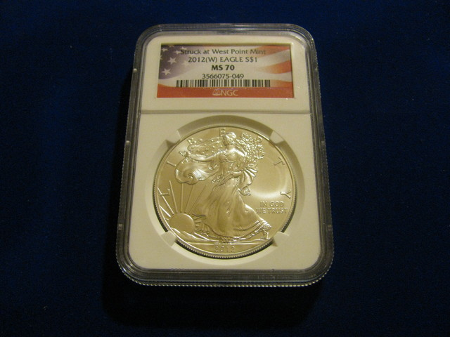 2012 (W) MS70 Silver Eagle NGC Flag label West point Mint