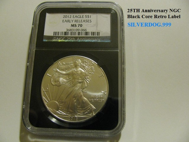 2012 ER MS70 Silver Eagle 25th Anniversary NGC Black Retro