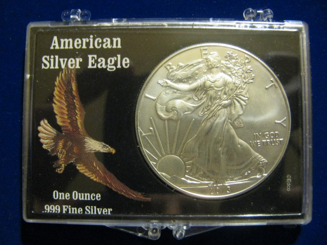 2013 GEM BU Silver American Eagle New Eagle Display Case