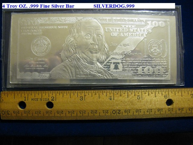 2013 & 2014 your choice $100 BEN FRANKLIN 4~OZ. .999 FINE SILVER BAR