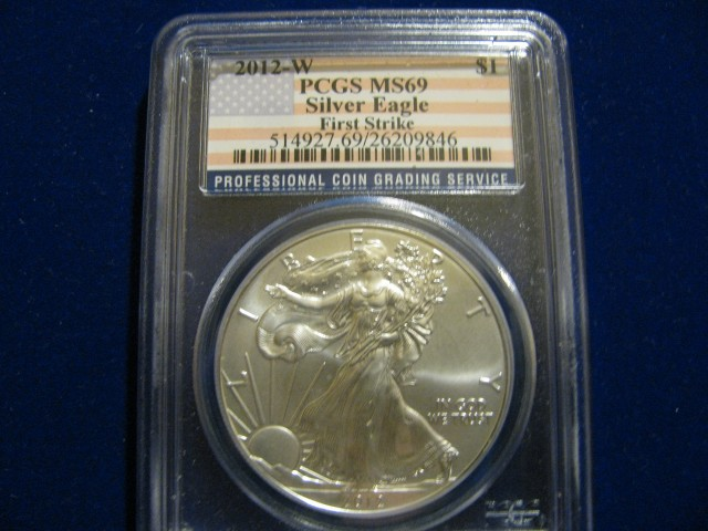 2012 W Burnished Silver Eagle First Strike MS69 Flag Label