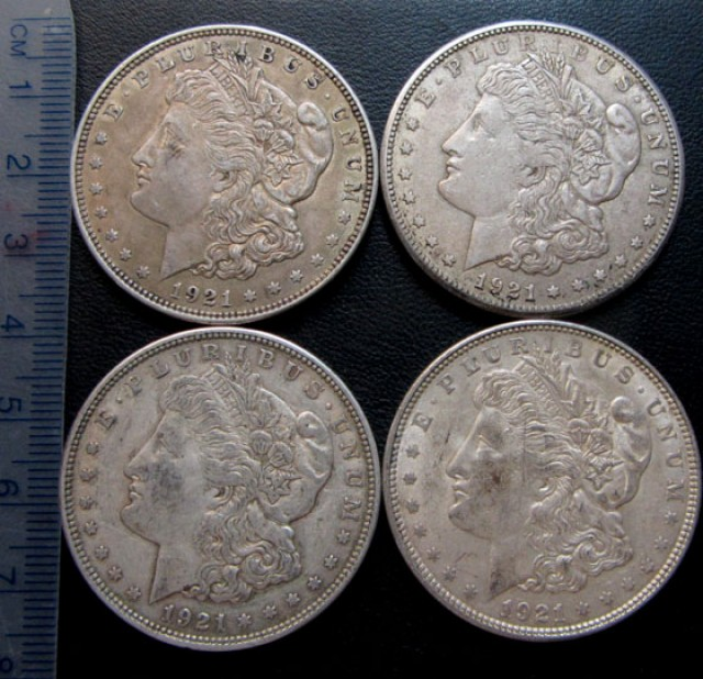 1921 MORGAN DOLLAR SILVERFOUR COINS   CO 1701