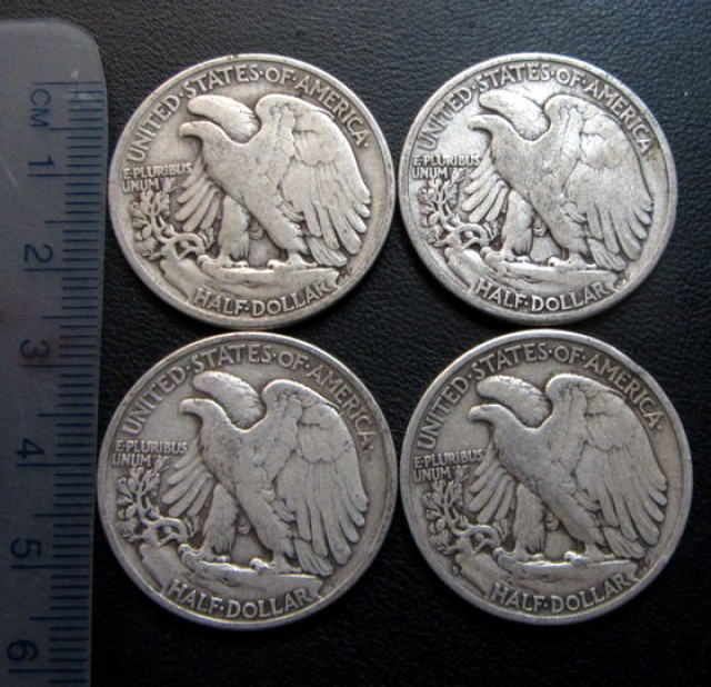1916-1947   four Walking Liberty Half Dollar CO 1709