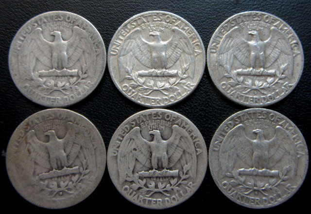 Parel six 90% silver quarters CO 1715