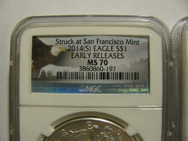 2014 (S) ER MS70 NGC Silver American Eagle $1 Coin