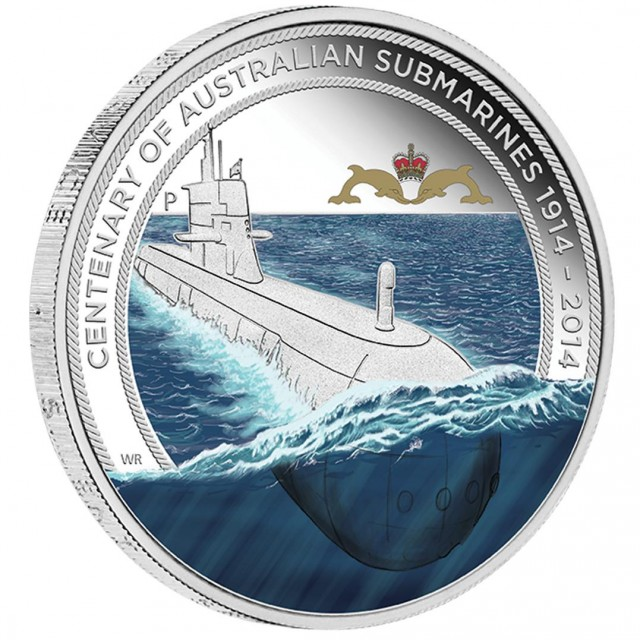 Australian Submarines 2014 1oz Silver Proof Coin  Badge Set