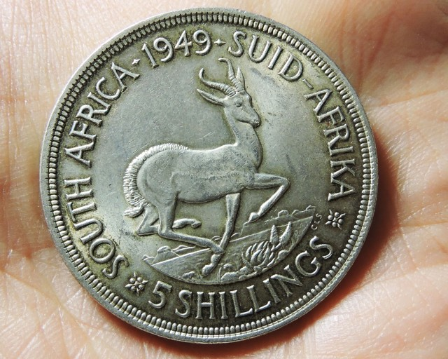 1949 FIVE SHILLING SOUTH AFRICA 80% SILVER CO17 CO 1743