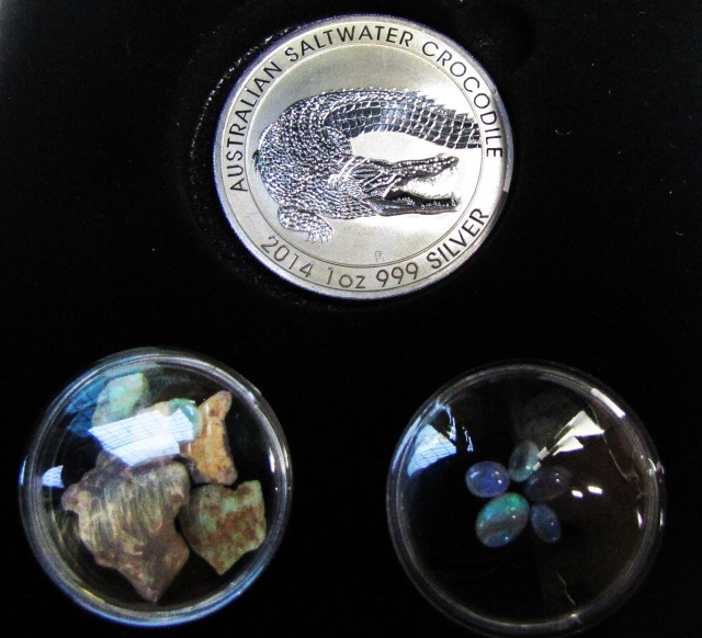 Silver salt water Crocodile Black  Opal  Series  CCO113