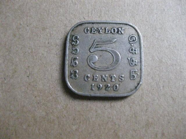 British Ceylon 1920 King George V 5 Cents Cupro Nickel Coin