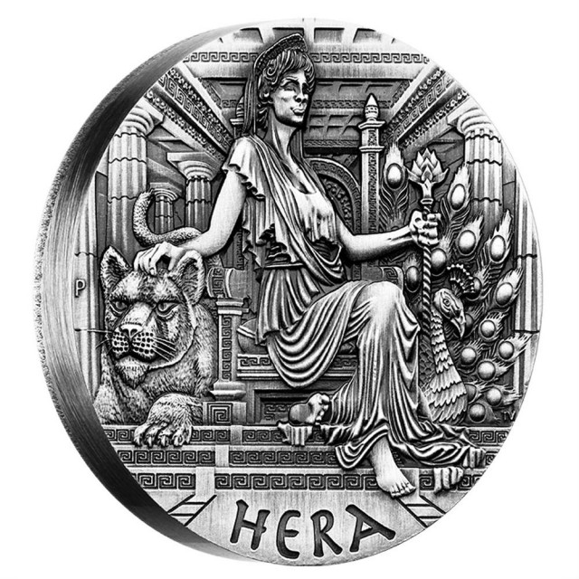 GODDESSES OF OLYMPUS - HERA 2015 2OZ SILVER HIGH RELIEF COIN