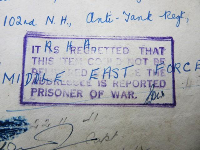 WW11 Prisoner of war letter  AGR1375