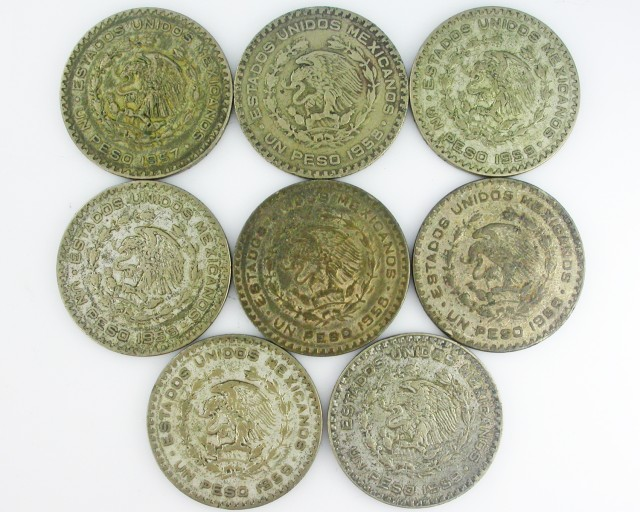 (MAYAN) 8MEXICAN UN  PESO  COINS  CO2000