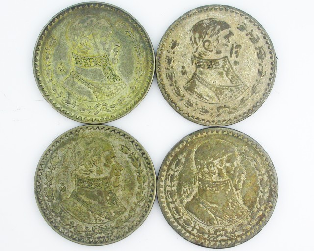 (MAYAN) 4MEXICAN UN  PESO  COINS  CO2001