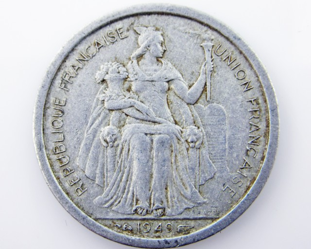 French POLYNESIA 1949   cent coin CO 2039