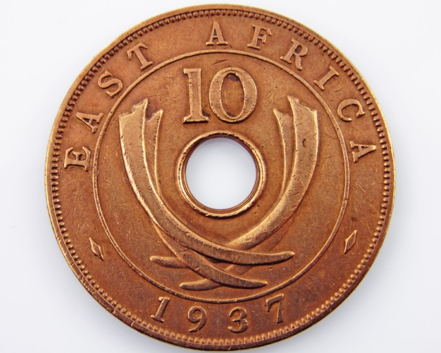 EAST AFRICA 10 CENTS 1937  coin CO 2045