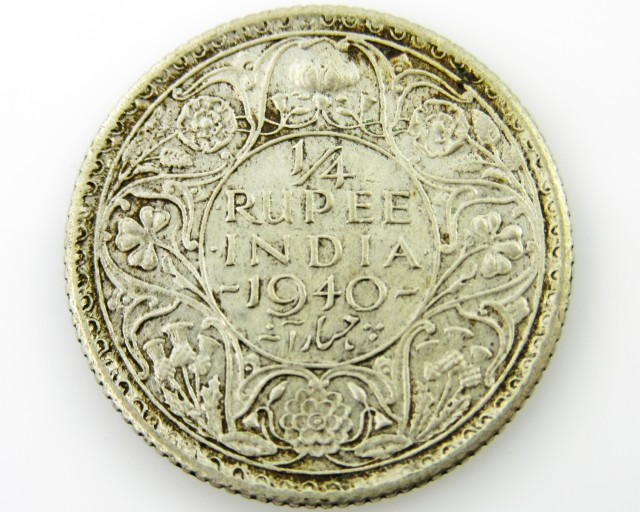 1/4 RUPEE silver  .500 coin CO 2047