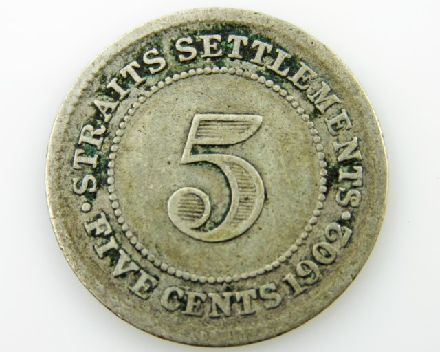Straits Settlement  5 cents silver .600 coin CO 2051
