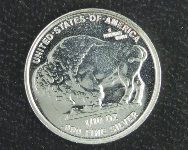 2014 1/10  ounce silver buffalo coin 99.9%