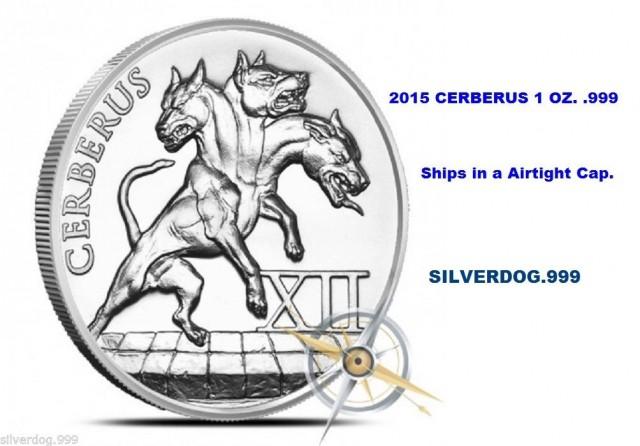 2015 Cerberus<>12 Labors Of Hercules 1 OZ. .999 Silver.