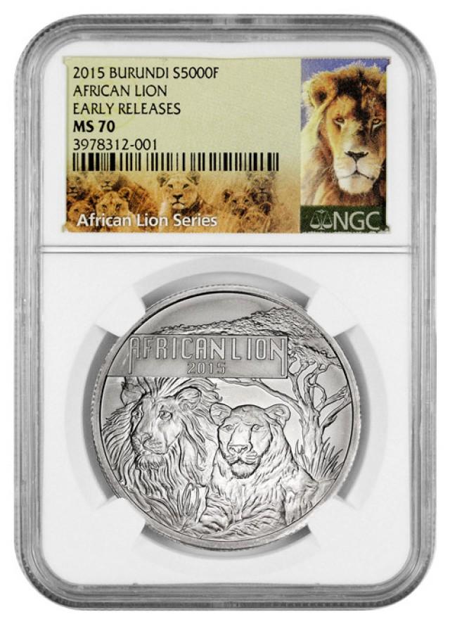 2015 Burundi 1 OZ ER Silver African Lion 5000 Francs Coin