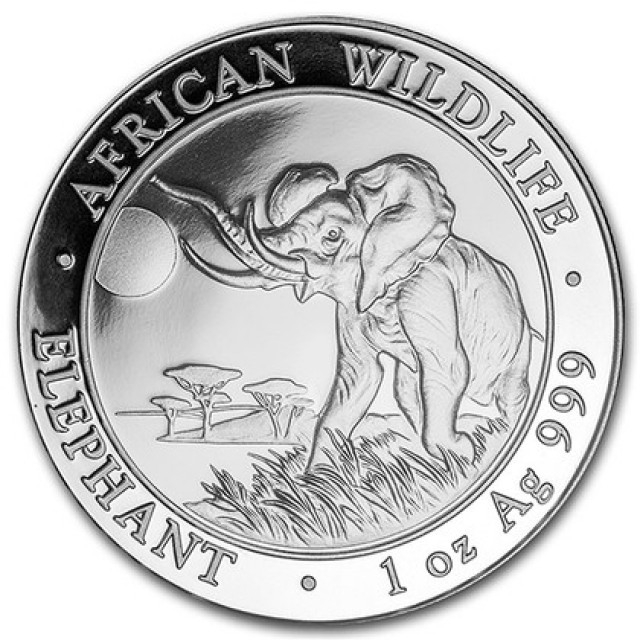 2016 Somalian Sh100 African Elephant 99.9% pure silver one ounce