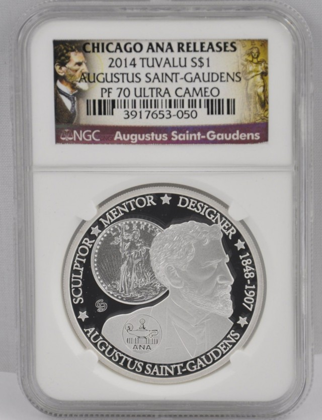 2014 Tuvalu $1 Silver Augustus SaintGaudens ANA Chicago Coin NGC PF70 Signe