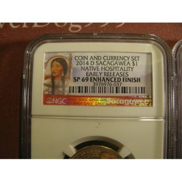 2014 D $1 SACAGAWEA NGC SP69 ENHANCED FINISH FROM COIN & CURRENCY SET