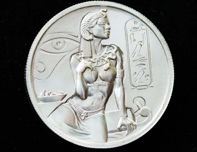 Two Ounce Silver Cleopatra High relief Silver bullion