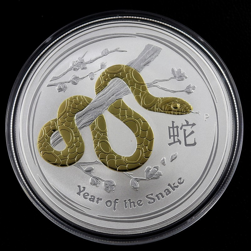 Gold colour  YEAR OF THE SNAKE 1OZ SILVER