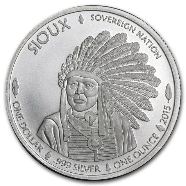 .999 fine Silver Round one ounce Sioux Indian one dollar