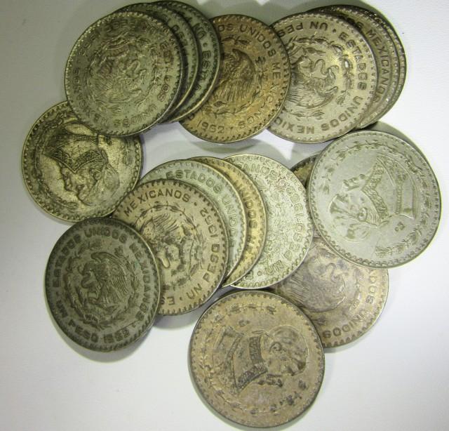 17 Mexican un Pestas Silver coins 1962-1964 JJ2204