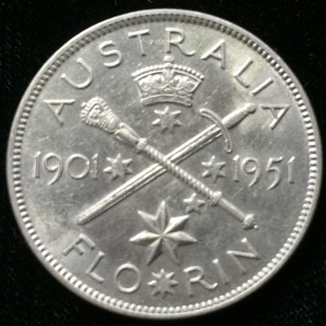 Australian One Florin  silver coin  CO 2306