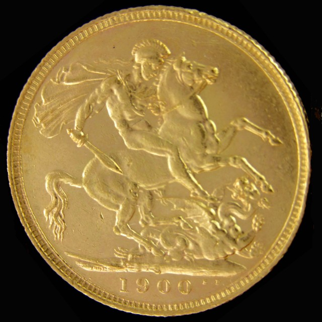 S 1900 Full Gold Sovereign veiled victoria head CO2312