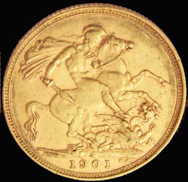S 1901 Full Gold Sovereign  veiled VICTORIA CO2313