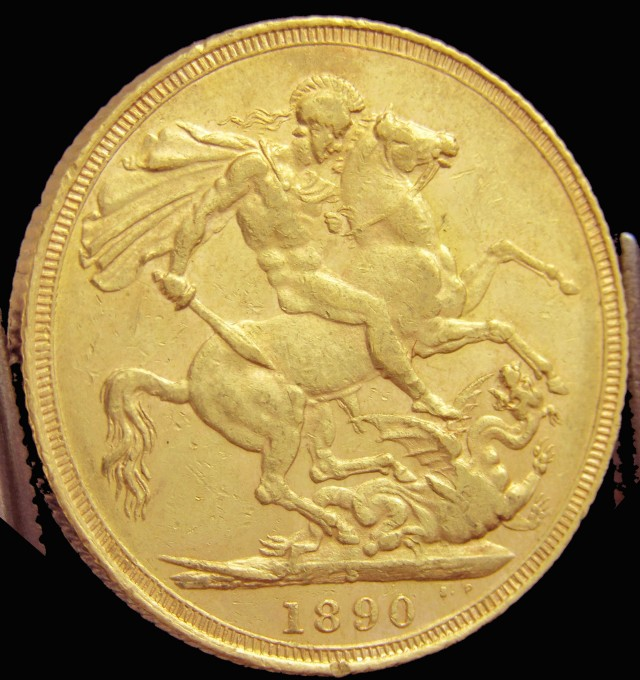 S 1890 Full Gold Sovereign  veiled VICTORIA JUBELIE CO2314