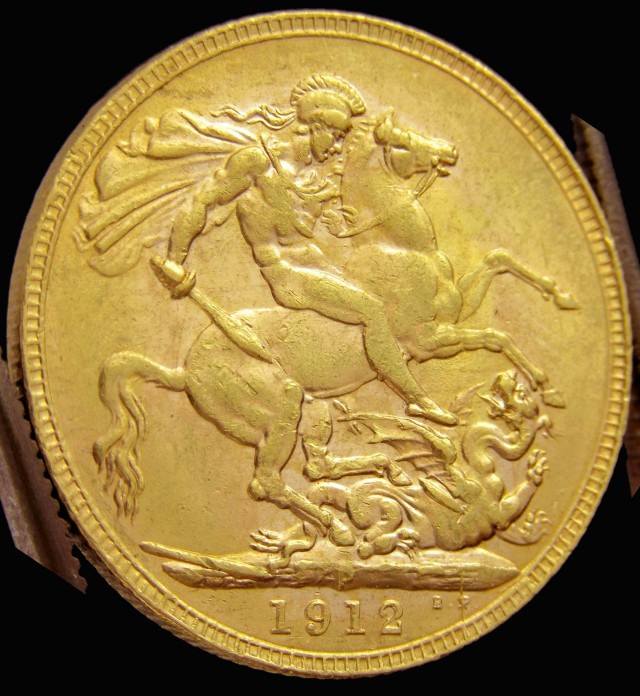 P1912 Full Gold Sovereign  St GEORGE CO2320