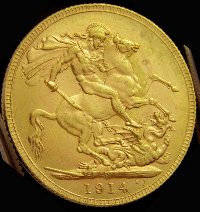P1914 Full Gold Sovereign King George Co2321