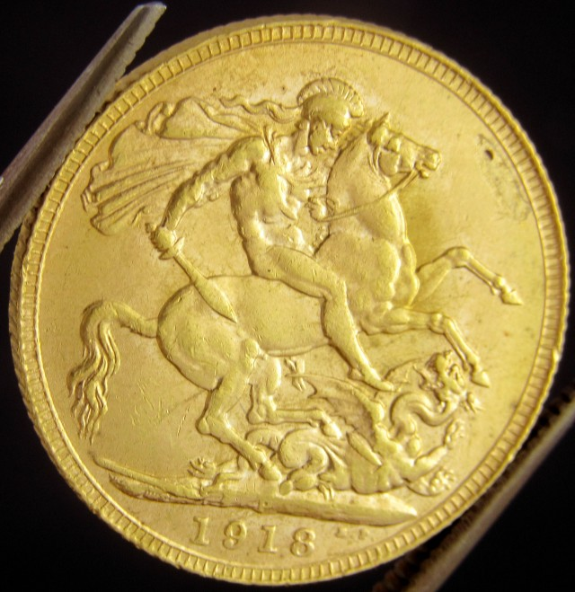 P1918  Full Gold Sovereign  GEORGE V CO2322