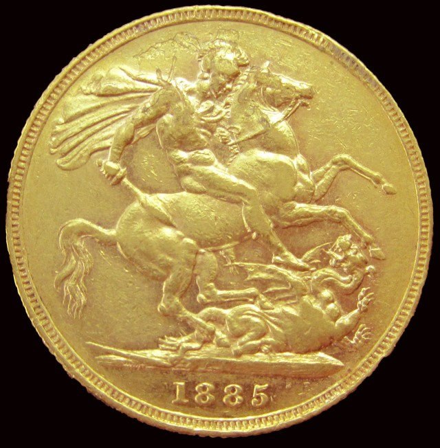1885 Full Gold Sovereign Victoria Young Head CO2345