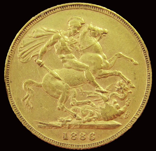 1886 Full Gold Sovereign Victoria Young Head CO2347