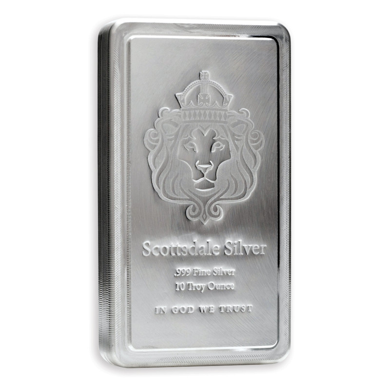 Ten  ounce Scottsdale osilver bar 99.9% silver