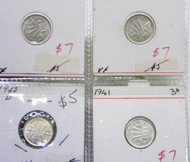 4 Mix  PRE 1946 silver 3 PC coins Co2353
