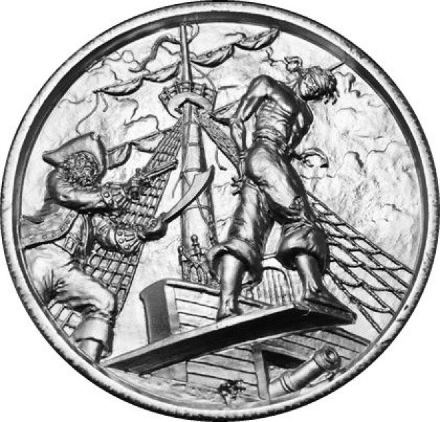 TWO oz silver coin - High relief The Plank UHR 99.9% pure