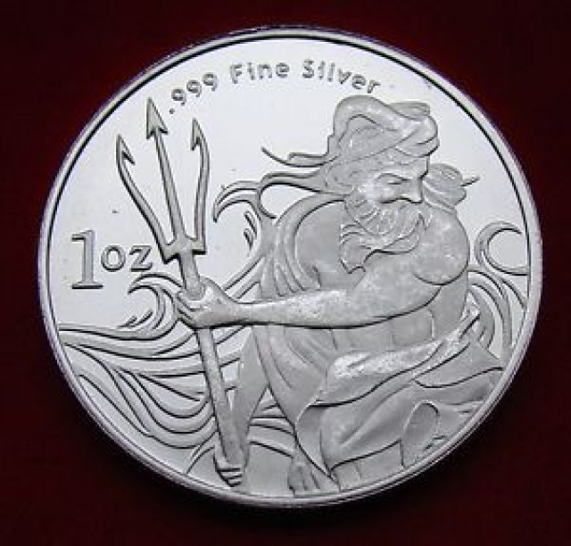 Poseidon Trident one ounce 99.9% pure silver