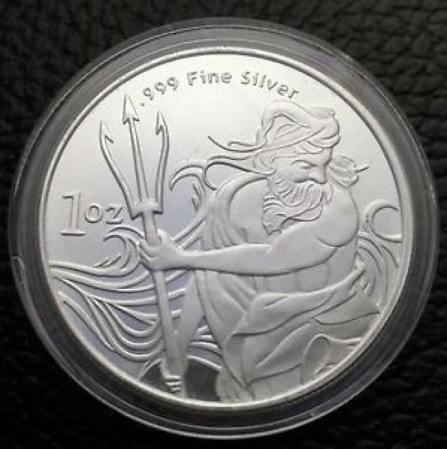 Trident son of Neptune silver round 99.9% pure silver