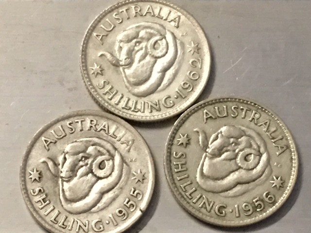 AUSTRALIA LOT 3, 1955-1962  SHILLING COINS 500   SILVERJ 2510